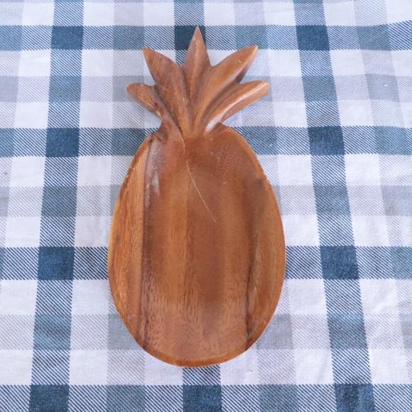 Vintage Tiki Style Wood Pineapple Dish